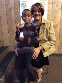 Church members Donyel Morris-Guise and son Jackson Morris at Christmas Brunch 2014