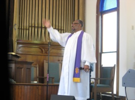 Elder Hayes in the pulpit. Photo by Stephanie Edwards