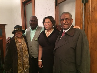 Minister Robert Rhone and Tiara Rhone with Owen and Ernestine Cheatham